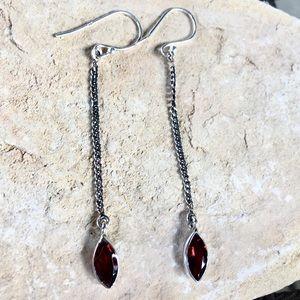 Jewelry - NEW genuine garnet sterling chain drop earrings